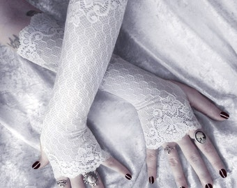 Grace Long Arm Warmers - White Lace w/ Embroidered Floral & Geometric Scalloped Sleeves - Vampire Romantic Fetish Dark Fusion Opera Fairy