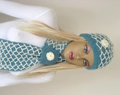 Winter Hat - Teal Green Hat, Beret - Green Adult Beanie Hat with Crochet Ivory Flower - Gift for Her - Ready for Shipping