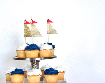 Vintage Book Paper Sailboat Cupcake Toppers. Perfect for birthdays, wedding, cruise parties and more. Customize the top sail color.