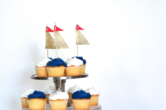 Paper Sailboat Cupcake Toppers, 12 vintage book paper pieces