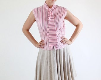 SALE - Vintage 1960s Pink Striped Mid Century Modern Sleeveless Blouse Top