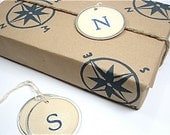 Nautical Wrapping Paper - Compass Rose - Midnight Blue - Gift Paper - Hand Designed Brown Kraft Paper - Eco Friendly