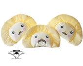Moustache Perogy (Ukrainian Varenyk) Pillow - Cute Fabric Food Dumpling made by Adrianna Bamber