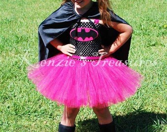 Bat Girl Tutu Dress Costume ~ Includes Mask, Cape Optional ~ Size 2T to Girl's Size 6