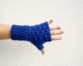 Blue Fingerless Gloves, Long Gloves, Men's Gloves, Hand Knitted Women's Gloves, Chunky Knitwear, Bright Blue Winter Fashion - Cobalt Blue