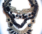 RESERVED Layered Necklace- Chunky black & white rhinestone bib necklace- Tom Binns inspired Layered Necklace- Statement Necklace Handmade