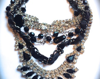 Trending Layered Necklace- Chunky black & white rhinestone bib necklace- Tom Binns inspired Layered Necklace- Statement Necklace Handmade