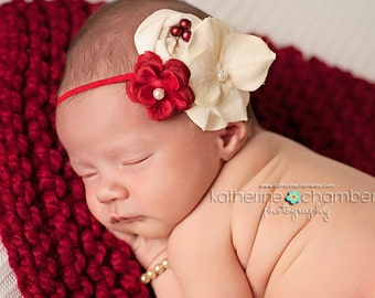 Mary, Mary -vintage inspired crimson and ivory flower and rosette headband