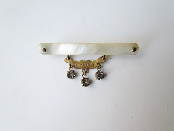 Antique Victorian Mother Of Pearl Pin DEAREST c.1880s