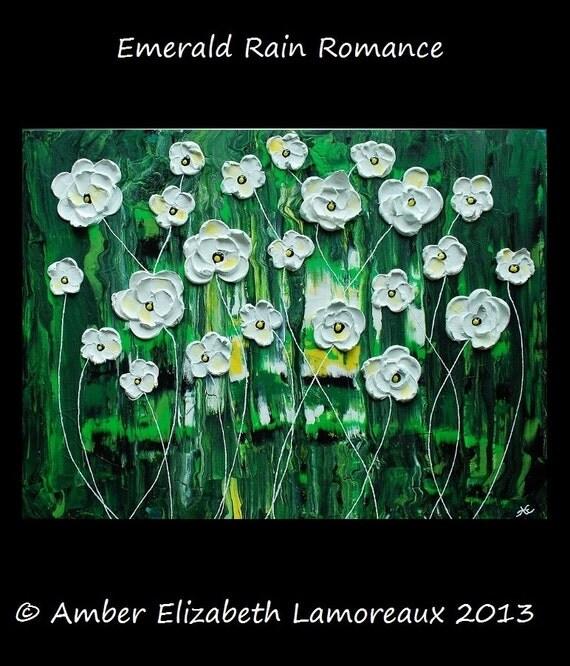 Fine Art Giclee Print of Original Painting Emerald Rain Blossoms Amber Elizabeth Lamoreaux Impasto White Flowers Green