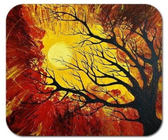 Mousepad Mouse Pad Fine Art Painting The Radiant Warmth Modern Art Tree Silhouette Gold Brown Sun Sunshine Radiate Yellow Light