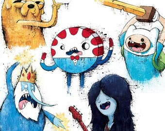 Adventure Time Collection (5 Separate Prints) - 12x18 Officially Signed, Dated and Hand-Stamped Art Prints