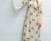 Vintage 1970's Floral Hippie BoHo Peasant Maxi Dress with White Lace Bell Sleeves Festival Fabulous