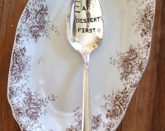 Vintage Silverware Silver Plate Eat Dessert First Hand Stamped