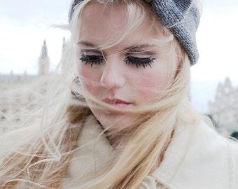Grey Knitted Bow Headband, Knitted Headband, Oversized Bow Headband, Cute and Cosy Ear Warmer