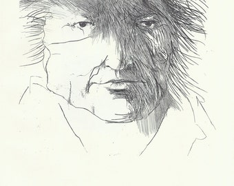 Portrait, Black and White Print, Midcentury Modern Art, Etching, Leonard Baskin, Jewish Artist, 1960s Art, Francisco De Goya, Ernst Barlach