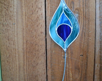 Stained Glass Single Peacock Feather