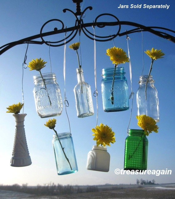 Multi Size Jar Hangers 10 for Mason Jars, Bottles, Recycled Jars, Hanging Wedding Candles, Flower DIY Hangers or Garden Lanterns, no jars
