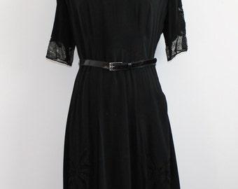 Black Midcentury Lace Panel Dress with Belt