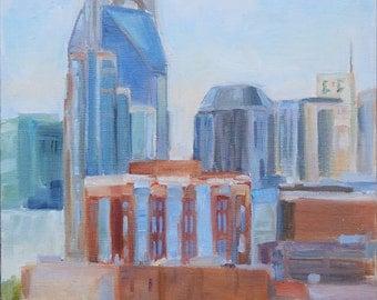 Nashville, Nashville Skyline, Nashville art, Plein Air of Nashville, City art, The It City, Tennessee Painting, The Bat Building, Original