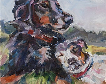 Sale, Two dogs, two dogs in grass, Jack russell, black dog, Dog painting, dog portrait, dog commission, pet portrait, original oil