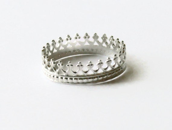silver crown ring sterling silver ring princess ring sterling