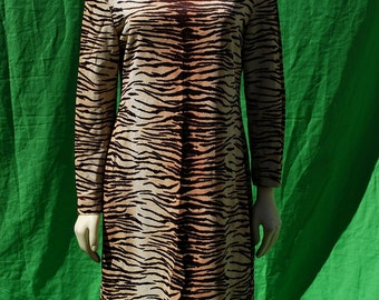Vintage 70's tiger strips faux leopard polyester dress s8 animal pattern long sleeve tunic by thekaliman