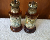 Amber Glass Hurricane Lamps (2) - World Maps - Oil Lamps - Vintage - Desk Lamp - Vintage - Kerosene Lamps  - Gifts - #818