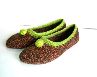 Felted slippers Slippers for Women Brown Yellow Orange Green Melange