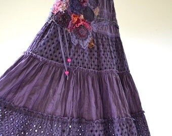 Purple Romantic, upcycled bohemian chic style dress