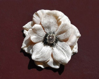Pin up hair anemone flower in cream beige velvet and silk beautiful colour top quality