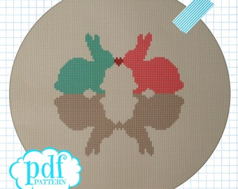 Bunny Love cross stitch, needlepoint, tapestry pattern. PDF, instant digital download,epattern. Easter rabbit.