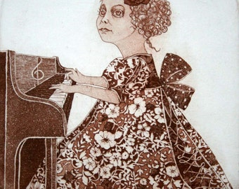 Etching / limited edition original etching (printmaking / graphic art) / original print / original art / piano etching - Girl playing piano