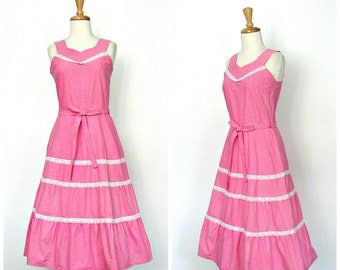 Vintage Cotton Sundress - 70s dress - fit and flare - full skirt - pink cotton dress - plaid  -50s style - rockabilly - S M