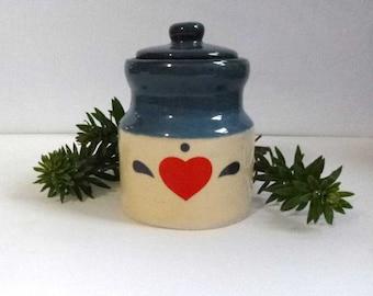 Miniature Folk Art Heart Canister Stash Box