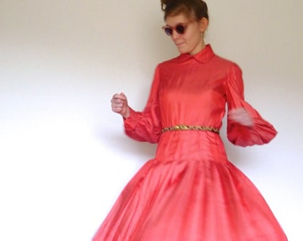 80s Bill Blass Dotted Coral Peter Pan Collar Pleat Dress s m