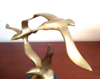Vintage Brass Seagulls Sculpture
