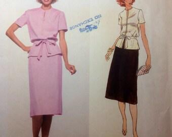 Vintage Vogue Paris Original MOLYNEUX Designer Sewing Pattern Top Skirt and Belt Size 8 1980s Uncut
