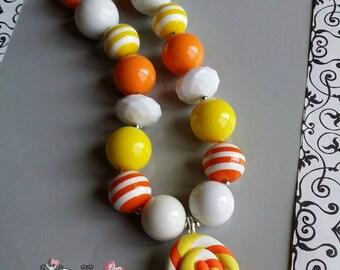 CANDY CORN LOLLIPOPChunky Necklace- Chunky bubblegum necklace, Girls chunky necklace, Gumball necklace, Bottle Cap necklace