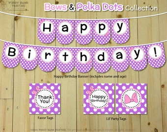 Bows & Polka Dots Collection - Purple and Pink : DIY Printable Daisy Duck Inspired Birthday Party Decoration | Daisy Birthday Banner