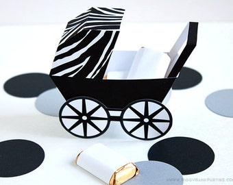 Zebra Baby Carriage Favor Box - White & Black : DIY Printable Baby Buggy Gift Box | Pram | Modern | Baby Shower Favor - Instant Download