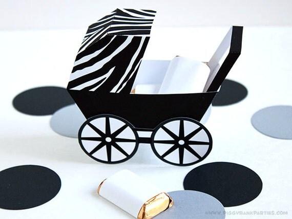 Zebra Baby Carriage Favor Box White Black Diy Printable Baby