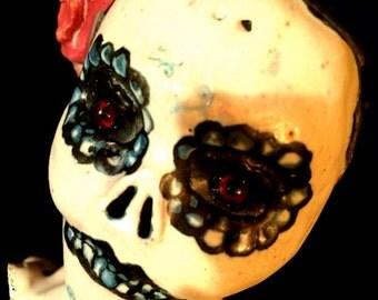 Mature..Sayonara SugarBone...OOAK handmade dildoll ceramic stoneware sugar skull kiln fired dildo
