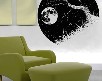 Vinyl Wall Decal Sticker Tree Branch and the Moon OSAA1562m