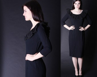 Little Black Dress - 50s Cocktail Dress  - Black Wiggle Dress  - 2808