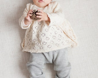 Baby girl clothes Baby girl lace sweater Tunic Baptism clothes Knit sweater