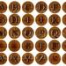 MCM TEAK LETTER Craft Circles - Teak and Steel  ALphabet AbC -Instant Download Digital Printable- Bottle Caps, more - 3 sizes