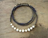 Rustic Pearl Necklace, simple Bohemian freshwater pearl beaded jewelry for everyday wear, June birthstone
