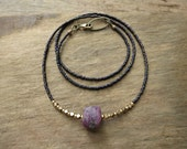 Rustic Rough Ruby Necklace, unique Bohemian July birthstone jewelry with raw uncut ruby pebble & dainty gold brass beads