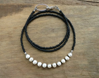 Dainty Pearl Necklace, black and white freshwater pearl beaded everyday June birthstone jewelry with silver accents